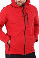 Ghassy Co Erkek Kırmızı Su Rüzgar Geçirmez Softshell Spor Mont