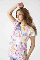 Pemilo Kadın 30103-1 Batik Desenli Cepli Manşetli Kısa Kol Pijama Takımı Renkli
