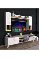 Poyraz Ticaret Duvar Raflı Tv Ünitesi 180cm Beyaz-gold Abg3
