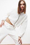GRIMELANGE SILK Kadın Beyaz Fermuarlı Kapüşonlu Sweatshirt