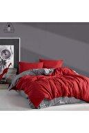 LadyModa Red&grey Çift Kişilik %100 Pamuk Nevresim Takımı