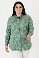 VAV Kadın Yeşil Büyük Beden Çiçek Desenli Kravatlı Gömlek