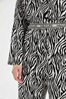 Defacto Kadın Beyaz Relax Fit Zebra Desenli Pijama Altı