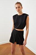 TRENDYOLMİLLA Siyah Crop Bluz TWOSS21BZ0394