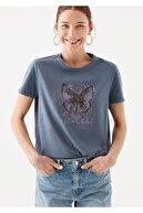 Mavi Kelebek Baskılı İstanbul Tişört