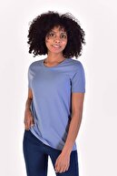 Addax Kadın Mavi Bisiklet Yaka Basic Tişört P0756 - W10 - W11