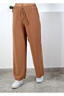 Moda Bu Huban Moda Kadın Kahve Beli Lastikli Bol Paça Salaş Yazlık Pantolon Aerobin-86582900