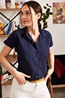 armonika Kadın Lacivert Kısa Kol Gömlek ARM-19Y001065