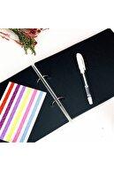Işıl Işıl Klaket Kapaklı Siyah Yapraklı Defter, Fotoğraf Albümü Yapmaya Uygun + Beyaz Kalem