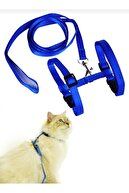 DECORTEX Ayarlanabilir Kedi Göğüs (bel) Tasması Mavi