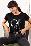 Olalook Kadın Siyah Kulaklık Salaş Tişört TSH-19000351