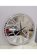 Kaizen Hediye Gümüş Aynalı Pleksi & Beyaz Ahşap Duvar Saati 40cm
