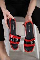 Ccway Kadın Kırmızı Tek Toka Kemerli Terlik
