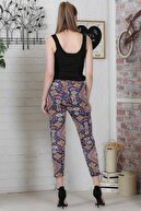 Chiccy Kadın Mavi Kilim Desenli Bağlamalı Dar Paça Pantolon M10060000PN98922