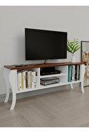 Platinreyon Modern Lukens Ayaklı Kapaksız Tv Ünitesi 120cm Televizyon Sehpası Ceviz