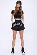 Trend Alaçatı Stili Kadın Siyah Yüksek Bel Cepli Baskılı Pamuklu Şort ALC-X6043