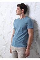 Ramsey Erkek Mavi Düz Örgü Örme Triko