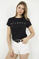 Vis a Vis Kadın Siyah Bisiklet Yaka Baskılı Basic Örme T-shirt STN878KTS118