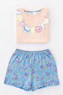 Penti Çok Renkli Kız Çocuk Seashell Frill Ss 2li Pijama Takımı