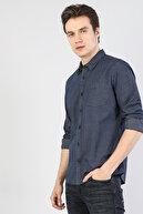 Colin's ERKEK Modern Fit Shirt Neck Erkek Lacivert Uzun Kol Gömlek CL1035159