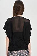 Hanna's Kadın Siyah Yaras Kol Transparan Bluz Hn1334