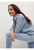 Mango Kadın Açık Mavi Kısa Paçalı Skinny Isa Jean Pantolon