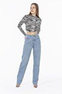 ME HAPPY Kadın Ekru Zebra Yarım Balıkçı Crop Bluz