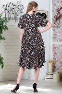 Chiccy Kadın Siyah Düşük Kol V Yaka Fırfırlı Dokuma Midi Elbise M10160000EL95432