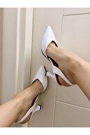 volante Kadın Beyaz Klasik Topuklu Ayakkabı