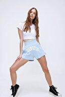 Trend Alaçatı Stili Kadın Mavi Yüksek Bel Cepli Baskılı Pamuklu Şort ALC-X6043