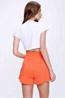 Trend Alaçatı Stili Kadın Turuncu Yüksek Bel Cepli Baskılı Pamuklu Şort ALC-X6043