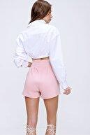 Trend Alaçatı Stili Kadın Pudra Yüksek Bel Cepli Baskılı Pamuklu Şort ALC-X6043