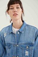 Defacto Kadın Mavi Eskitme Detaylı Relax Fit Jean Ceket