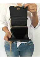 S&B Tekstil Kadın Siyah Zincirli Telefon Bölmeli Omuz Çantası