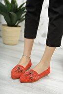 Moda Değirmeni Kadın Kırmızı Dantelli Püsküllü Dantelli Ayakkabı Md1068-111-0002