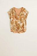 Mango Kadın Pembemsi Turuncu Desenli Saten Bluz 41007830