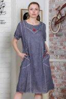 Chiccy Kadın Füme Dantel Detaylı El İşi Çiçekli Cepli Astarlı Yıkamalı Dokuma Midi Elbise  M10160000EL95439