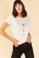 Bianco Lucci Kadın Billy Elliot Baskılı Viskon Tshirt
