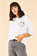 Bianco Lucci Kadın Astronot Baskılı Düşük Kol Oversize Tshirt