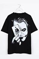 Sekizbiraltı Joker Sırt Baskılı Siyah Oversize Unisex Tshirt