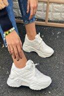 İnan Ayakkabı Kadın Beyaz Delik Detaylı Sneakers