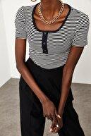 Xena Kadın Siyah & Beyaz Çıtçıtlı Çizgili Kaşkorse Bluz 1KZK2-11517-86