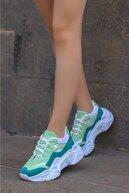 Madam Tarz Kadın Yeşil Beyaz Bağlı Kalın Taban Sneaker