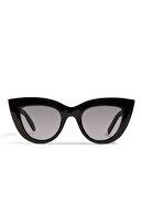 Hane14 Kadın Cat Eye Güneş Gözlügü 4330 Kalın Çerçeveli Tasarım Bayan Parlak Siyah
