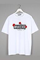 Sekizbiraltı Whatever Oversize Sırt Baskılı Beyaz Unisex Tshirt