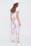 Trend Alaçatı Stili Kadın Pembe Dijital Desenli Sporcu Tayt ALC-X6170