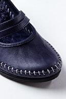 Deripabuc Hakiki Deri Lacivert Kadın Dolgu Topuklu Deri Ayakkabı Ars-0135