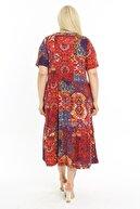 LİKRA Kadın Kırmızı Büyük Beden Etnik Desen Katlı Büzgülü Viskon Elbise