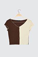TRENDYOLMİLLA Kahverengi Örme Bluz TWOSS21BZ1437