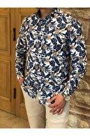 BYCAMMERS Erkek Beyaz Lacivert Slim Fit Çiçekli Dijital Baskılı Uzun Kollu Gömlek